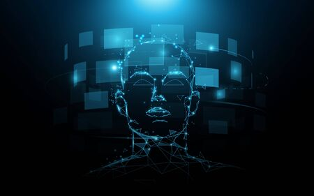 A portrait head human and digital screen virtual. Future technology concept 일러스트