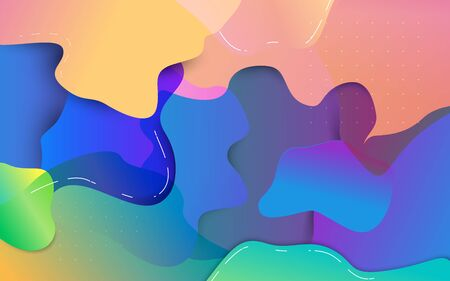 Abstract colorful fluid composition and minimal geometric background. Vector illustration