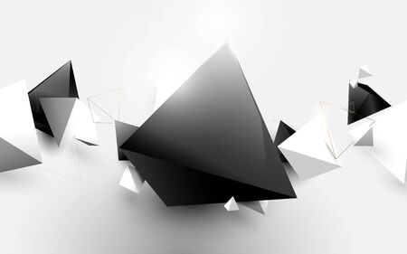 Abstract white and black 3d pyramids chaotic background. Vector illustration