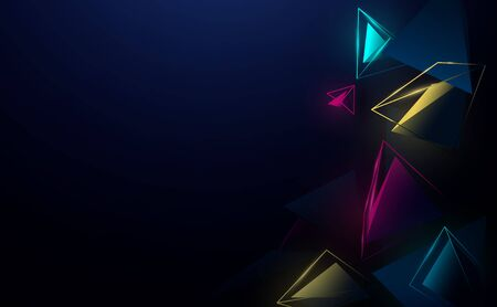Abstract 3d pyramids chaotic and color light on dark background. Vector illustration