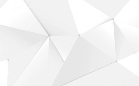 Abstract white 3d low polygon and lines technology background. Vector illustration
