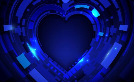 Abstract geometric technology digital hi tech background. Happy Valentines Day concept 일러스트