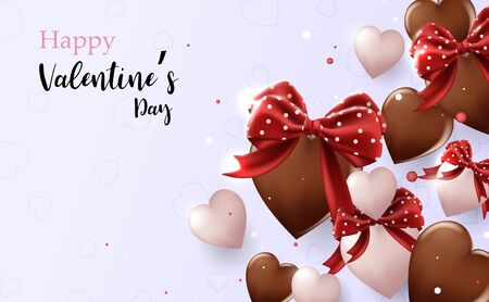 Valentines Day background. Chocolate and white hearts shape with cute
