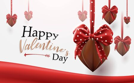 Valentines Day background. Chocolate hearts shape with cute ribbons hanging Ilustrace