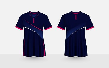 Blue and pink layout e-sport t-shirt design template