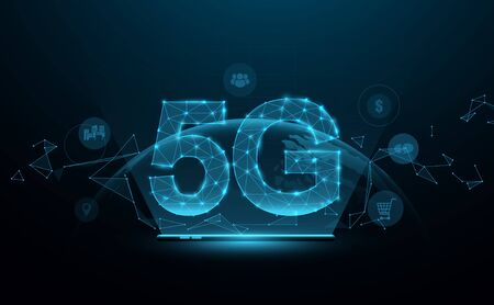5G new generation networks, High-speed mobile Internet. Abstract connection with technology icons. 3D polygonal. Vector illustration Ilustrace