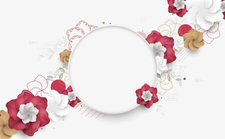 Abstract modern minimal flowers. Asia elements style design. Chinese new year. Geometric decorative ornaments