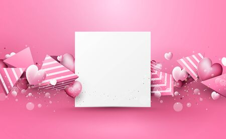 Abstract pink 3d polygons and hearts rough stripes, white square shape frame. Happy Valentines Day