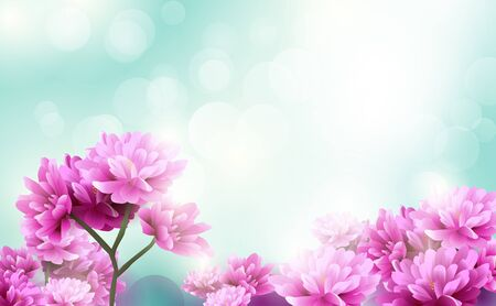 Schöne rosa Blumen blühen auf blauem Licht Bokeh Hintergrund. Fröhlichen Valentinstag. Alles Gute zum Tag der Frauen Vektorgrafik