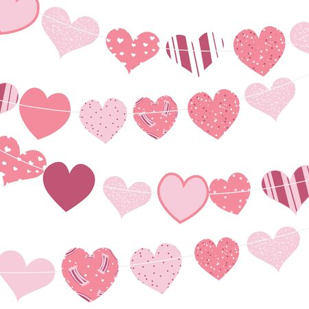 Happy Valentines Day. Gingham love heart hanging on white background. Vector illustration vector
