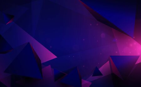 Abstract 3d chaotic low poly shapes. Flying polygonal pyramids and technology futuristic background