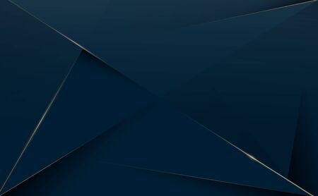 Abstract polygonal pattern luxury dark blue with gold background. Vector illustration