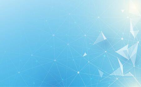 Poligonale basso astratto con punti e linee di collegamento su sfondo blu morbido. Scienze e tecnologia Vettoriali