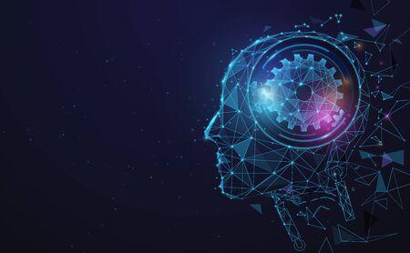 AI, inteligencia artificial. Cerebro digital Ai. Concepto de robótica. Rostro humano de polígono. Vector de ilustración Ilustración de vector