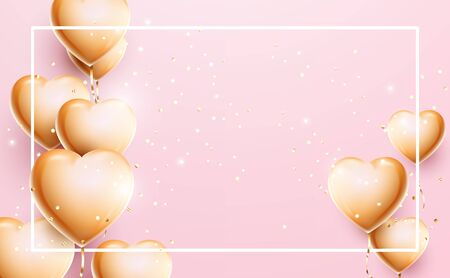 Valentines Day or Wedding invitation decoration. 3d golden balloon hearts shape and confetti particles on pink background