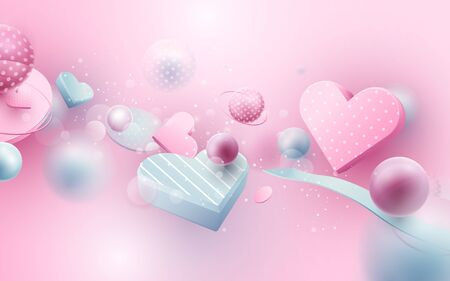 Abstract geometric 3D effect compositions with love concept.  Elements of heart flying on pink background. Valentines Day, Wedding and birthday greeting card design