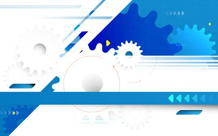 Abstract geometric and gear wheel with technology hi-tech futuristic concept background Illustration