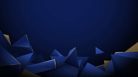 Abstract 3d low poly pattern luxury dark blue with gold