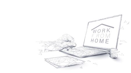 Man hands using laptop. Working from home concept. Home office in covid-19 crisis. Low poly vector