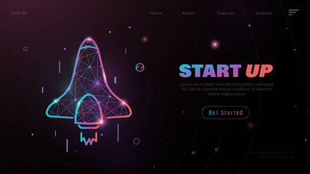 Business Start Up Concept for banner, web page, presentation, landing page template. Rocket launch into undiscovered space. Low poly wireframe. Vector illustration