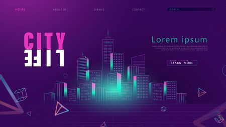 Futuristic retro Night City Skyline in 80s 90s style. Digital retro landscape cyber surface. Banner, web page, presentation, landing page template. Vector illustration