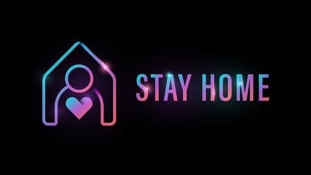 Stay at home icon. Human with house and heart inside. COVID-19 protection campaign logo 矢量图像