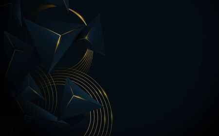 Abstract 3d polygonal pattern luxury lines  dark blue with gold background