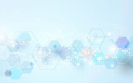 Abstract geometric hexagons shape medicine and science concept background. Vector illustration