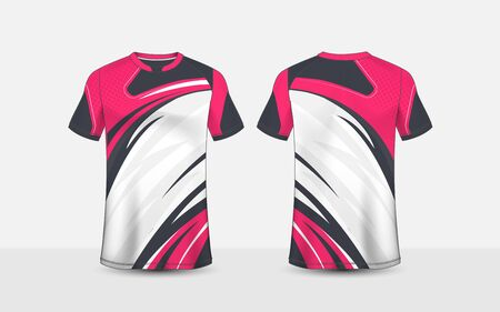 Pink, white and black pattern layout e-sport t-shirt design template
