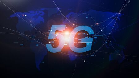 5G new generation networks, High-speed mobile Internet. Abstract world map with network and telecommunication on earth. Vector illustration