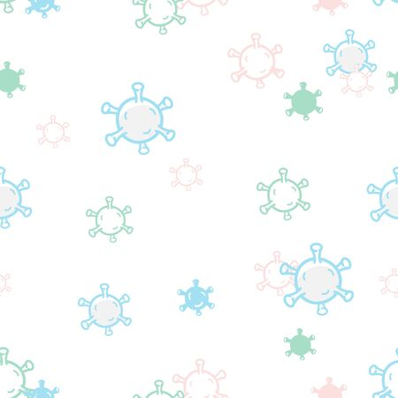 Abstract cute virus seamless pattern. Coronavirus 2019-nCoV. Vector illustration Иллюстрация