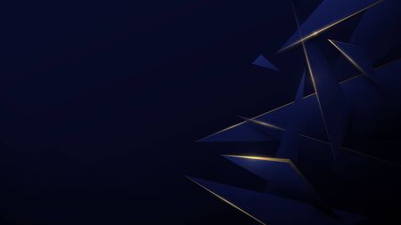 Blue and gold low poly abstract. Technology digital hi tech background. Luxury pattern. Vector illustration