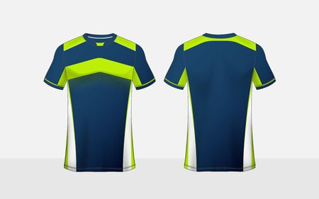 Blue, green and white pattern layout e-sport t-shirt design template