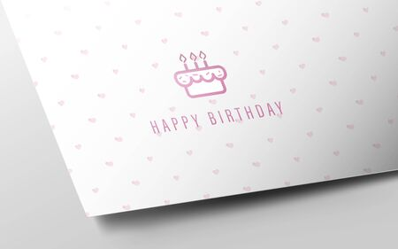 Birthday Card Mocup on White Paper and Heart Motifs. Happy Birthday Icon Иллюстрация