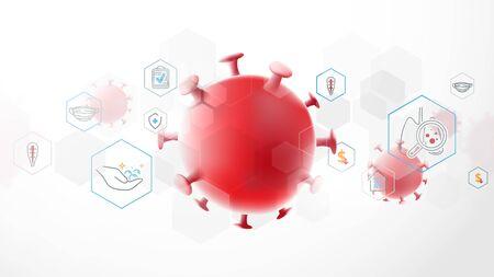 Composition of Coronavirus. Covid-19 Coronavirus Concept. Coronavirus Protection Related Icons. Abstract Technology Digital Hi Tech Concept Background Иллюстрация