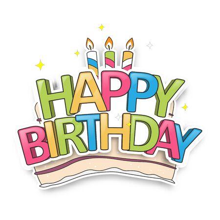 Cute Birthday Card with Cake. Happy Birthday Typography Design