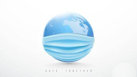 Earth Planet wears The Protective Mask. World Epidemic Danger from Coronavirus. World Health Day