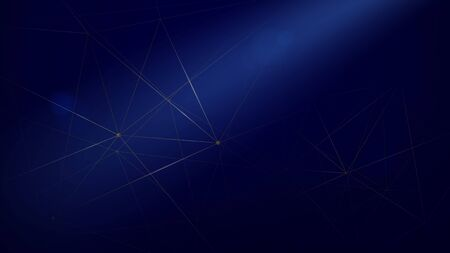 Abstract Molecule with Connecting Dots and Lines in Blue Background. Vector Illustration