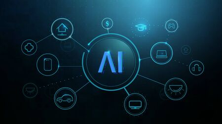 AI, artificial intelligence, Internet of Things IoT, Infographic template with icons, smart technologies