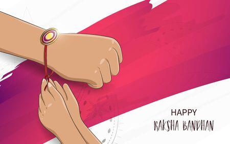 Vector Illustration of Raksha Bandhan. Brother and Sister tying Rakhi on Raksha Bandhan
