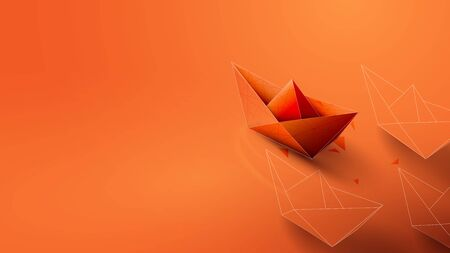 Leadership Concept with Orange Paper Ship Leading. Vector Illustration