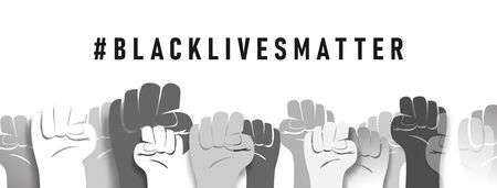 Peoples Raised Fist Air Fighting. Feminism Symbol. Black Lives Matter. Fight for The Rights and Equality