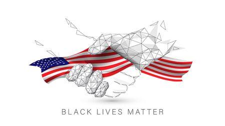 Black Lives Matter. Black and White Hands Together with Concept. Handshake Icon. United State of America flag. Vector Illustration Иллюстрация