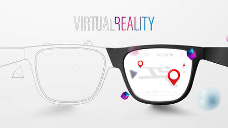 Smart Glasses with Map and Red Pinpoint on Screen. VR virtual reality and AR augmented reality technology. Vector Illustration
