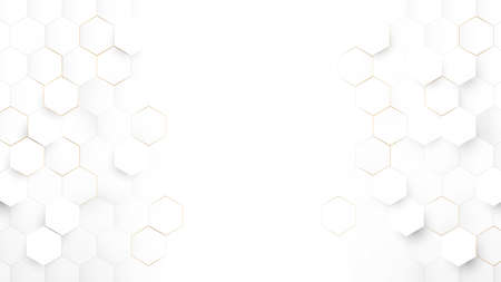 Abstract Technology, Futuristic Digital Hi Tech Concept. Abstract White and Gold Hexagonal Background. Luxury White Pattern. Vector Illustration Ilustração