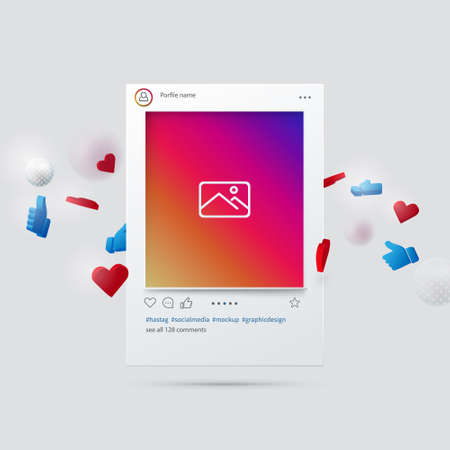 Mockup of Social Network Interface. Social Media Design Concept. 3d Vector Illustration