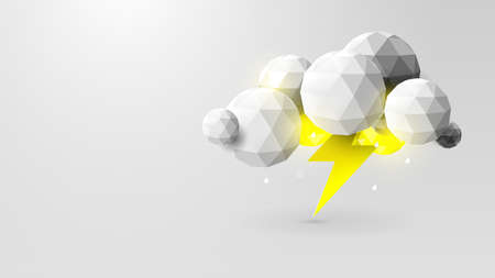 Storm Weather Concept. Rain, Thunder Lightning and Clouds in The Paper Cut Style. Vector Illustration Ilustração
