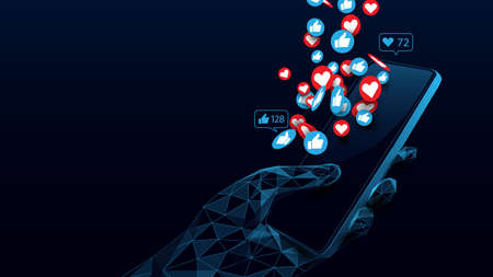 Social Media Concept. Hand Holding Smartphone with Like, Love Icons. Low Poly and Wireframe Design. Vector Illustration