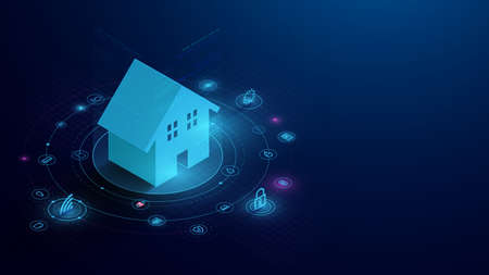 Smart Home Connection with Control Devices Icons. IOT Concept. System Intelligent Control House on Blue Background. Vector Illustration