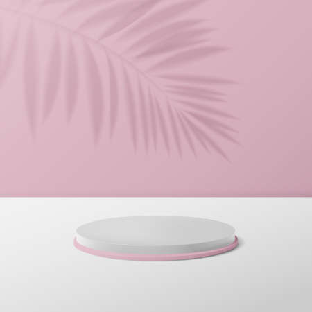 3d White and pink circle podium display. Abstract Background for Product Presentation. Vector Illustration